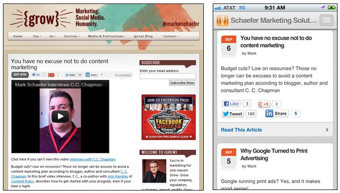 desktop versus mobile blog