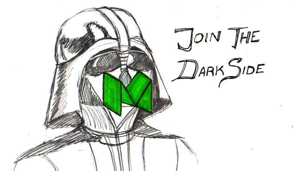 darth vader with a Medium mask lures marketers to join the dark side
