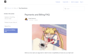 an example of Discord's support docs and accompanying Sailor Moon GIFs